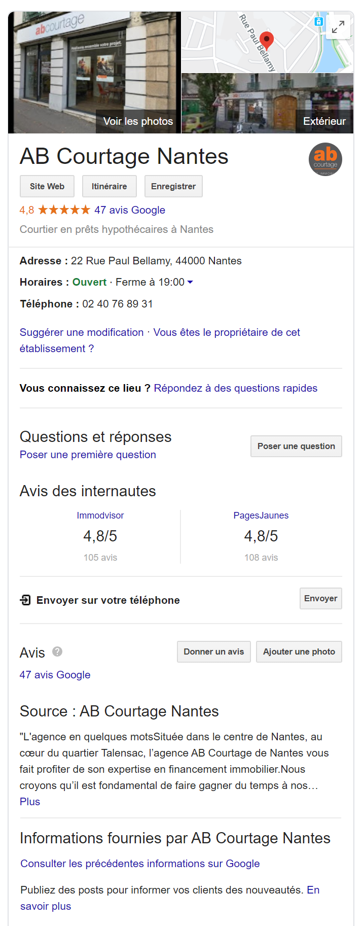 exemple fiche nantes google my business